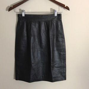 St. John Dark Brown Genuine Leather Pencil Skirt